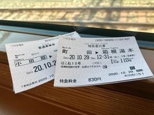ロマンスカーの窓際に切符と線路